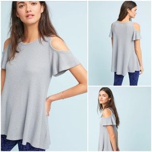 Anthropologie Fluttered Open-Shoulder Top New Gray
